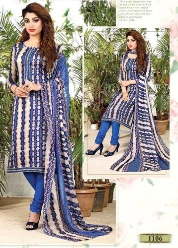Blue Glaze Cotton Casual Wear Salwar Suit