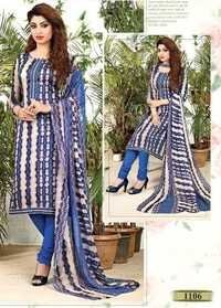 Blue Glaze Cotton Casual Wear Salwar Suit