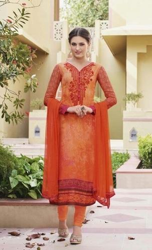 Orange Georgette Stylish Festive Wear Salwar Suit