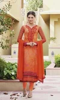 Orange Georgette Stylish Festive Wear Salwar Suit
