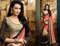 Designer latest orange and brown chiffon saree