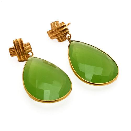 Sea Green Chalcedony Gemstone Earrings