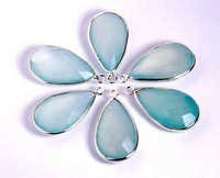 Aqua Chalcedony Gemstone Connector