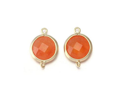 Orange Chalcedony Gemstone Connector