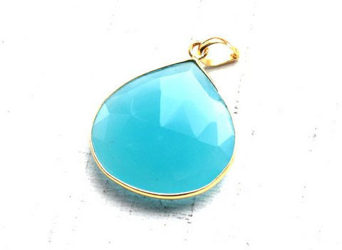 Aqua chalcedony Gemstone Pendants