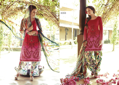 Beautiful pink cotton unstitched punjabi patiyala suit 8358