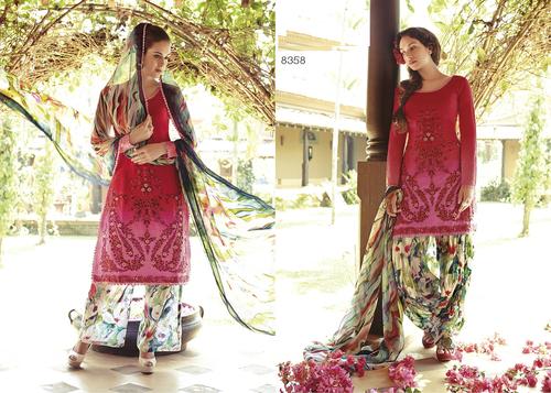 Beautiful pink cotton unstitched punjabi patiyala suit 8358