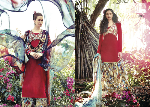 Gorgeous Red Punjabi Patiyala Cotton Salwar Kameez