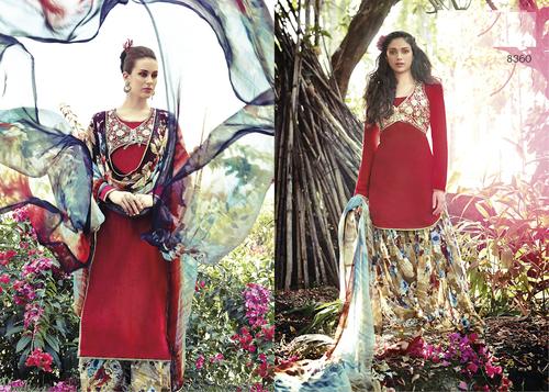 Gorgeous Red Punjabi Patiyala Cotton Salwar Kameez