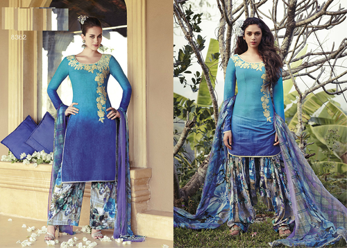 Designer shaded blue punjabi cotton summer wear salwar kameez 8362