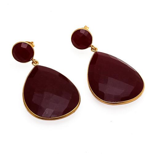 Dyed Ruby Gemstone Earrings