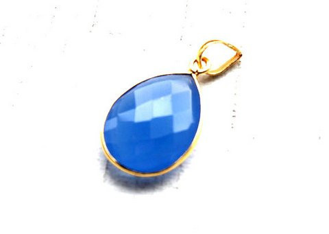 Blue chalcedony Gemstone Pendants