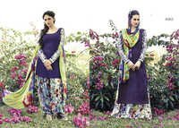 Fancy purple cotton punjabi daily wear suit