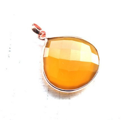 Yellow Chalcedony Gemstone Pendant