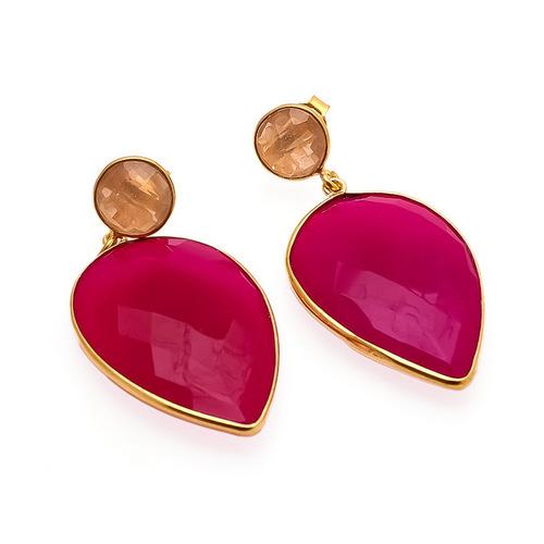Fuchsia Chalcedony & Peach Chalcedony Gemstone Earrings