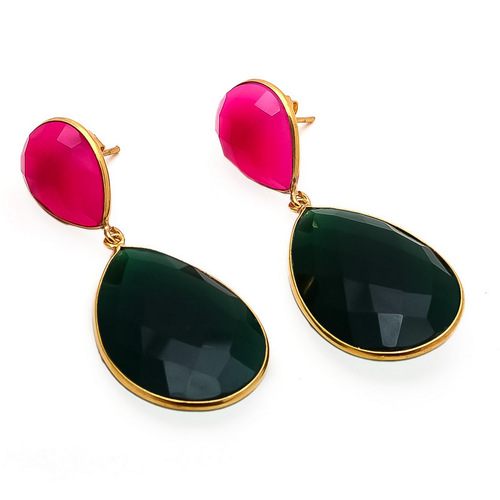 Green Onyx & Fuchsia Chalcedony Gemstone Earrings