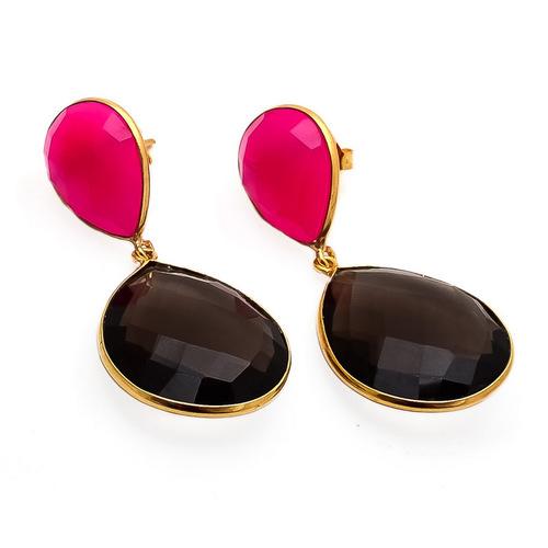 Smoky Topaz & Fuchsia Chalcedony Gemstone Earrings