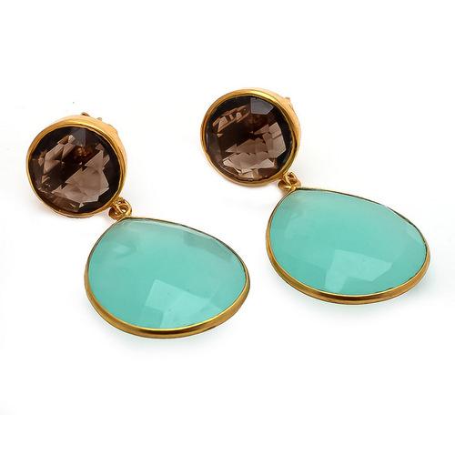 Aqua Chalcedony & Smoky Topaz Gemstone Earrings