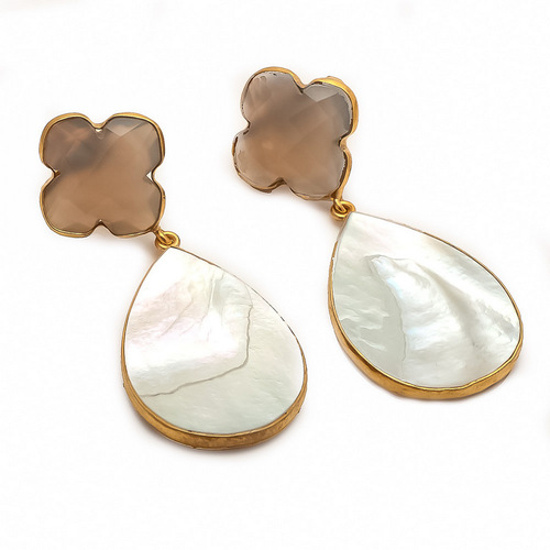Shell & Gray Chalcedony Gemstone Earrings