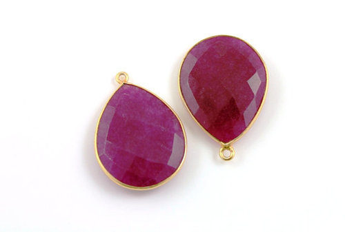 Dyed Ruby Gemstone Connectors