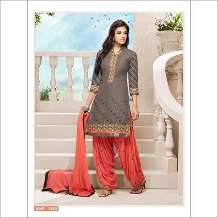 Wonderful brown orange cotton patiala salwar kameez 2653