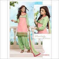 Designer pink and Light Green cotton salwar kameez 2654