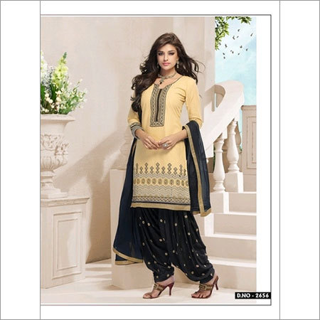 Elegant Cream and Black cotton salwar kameez 2656