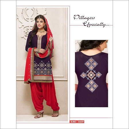Punjabi cotton purple & red salwar kameez 2659