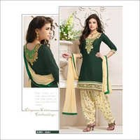 Fancy Green & Cream Cotton punjabi suit 2661