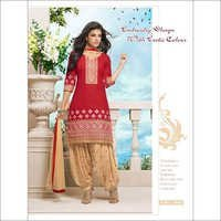 Punjabi Red & Cream cotton patiala salwar kameez 2662