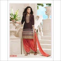 Beautiful Brown & Orange Cotton patiala salwar kameez 2663