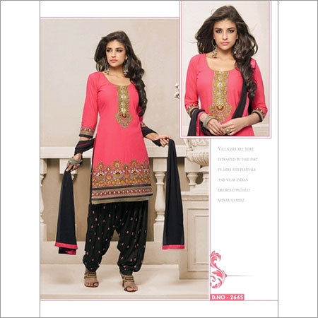 Wonderful pink and Black Cotton patiala salwar kameez 2665