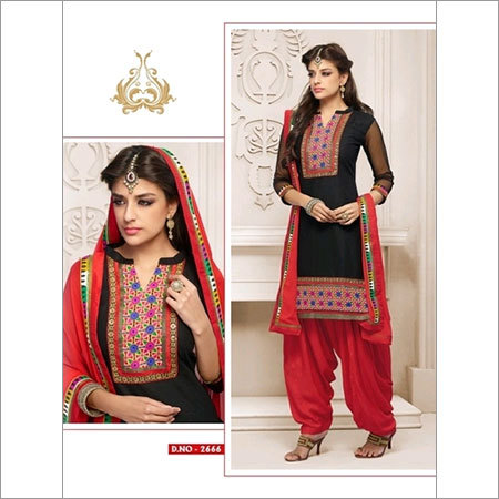 Gorgeous pink and Black cotton patiala salwar kameez 2666