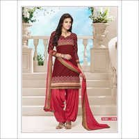 Designer Pink and Brown Cotton daily wear patiala salwar suit 1008