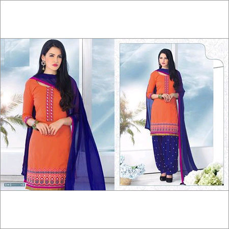 Punjabi orange and Blue cotton patiala suit 101