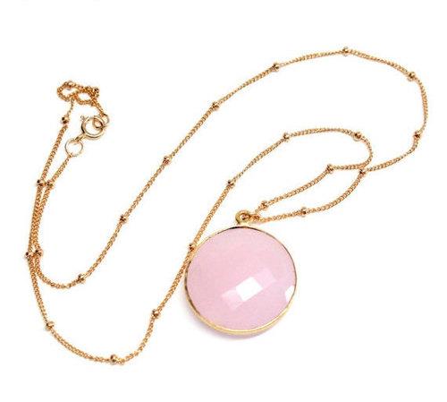 Pink chalcedony Gemstone pendant