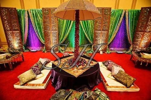 Embroided Backdrop Sangeet Stage