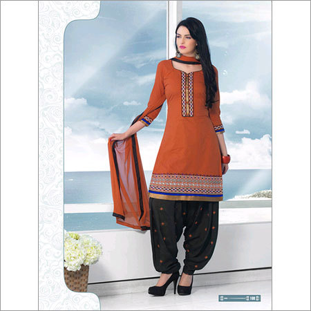 Indian Brown  patiala Unstitched  salwar kameez cotton salwar suit 108