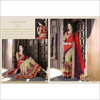 Fancy Orange and beige Net saree 2102
