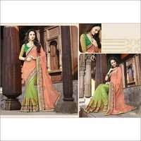 Heavy Embroidered orange and Light green saree 2103