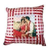 Pink And Red Check Cushion