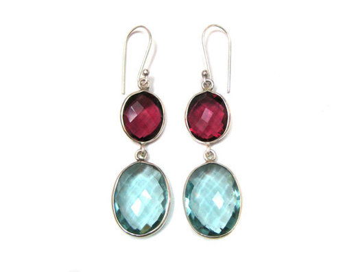 Blue Topaz & Garnet  Gemstone Earring