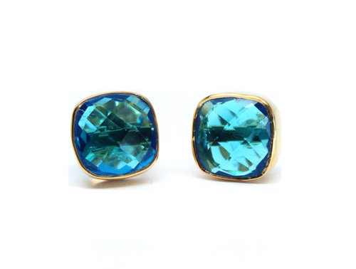 Blue Topaz Gemstone Studs