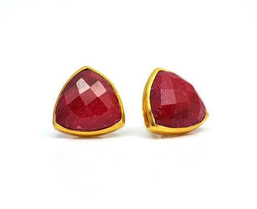Dyed Ruby Gemstone  Studs