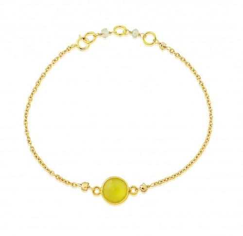 Yellow Chalcedony Gemstone Bracelate