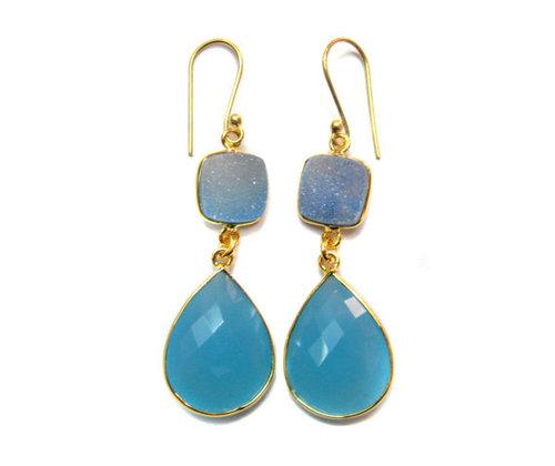 Blue chalcedony &  Durzy Gemstone