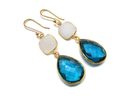 Blue Topaz / White Druzy Gemstone Earring