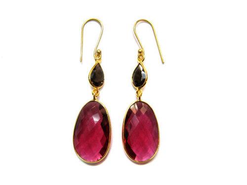 Pink Tourmaline / Smoky Topaz Gemstone Earring