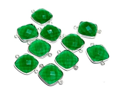 Square Green Onyx Gemstone Connector
