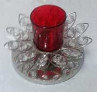 GLASS VOTIVE  WITH  METAL BASE